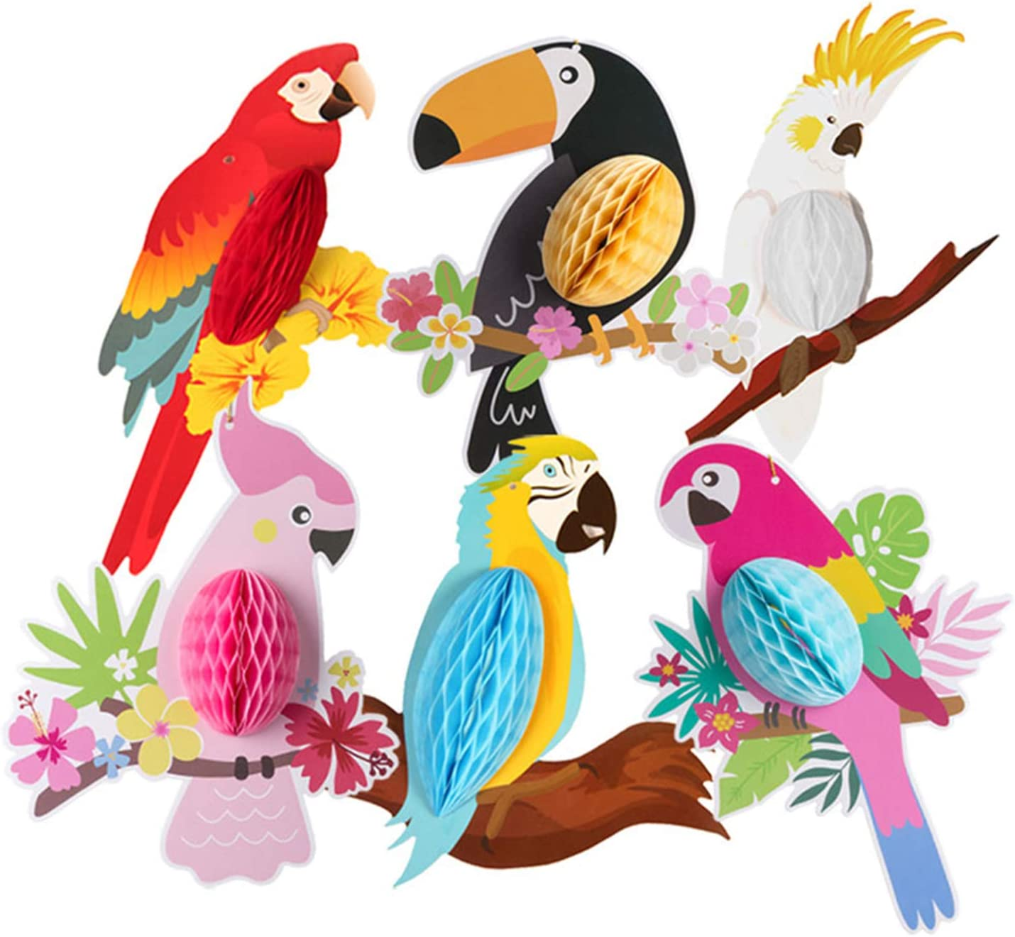 6PCS Tropical Birds Hanging Parrot Paper Honeycomb Decorations Hawaiian Colorful Birds Summer Tiki Bar Luau Party Supplies for Birthday Decorations Home Classroom Hanging Décor