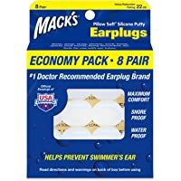 Mack's Pillow Soft Silicone Earplugs – 8 Pair, Economy Pack – The Original Moldable Silicone Putty Ear Plugs for Sleeping, Snoring, Swimming, Travel, Concerts and Studying