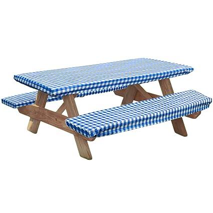 Amazon Com Laminet Walterdrake Elastic Picnic Table Cover Blue