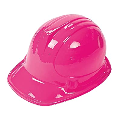 Pink Novelty Construction Hat (12 pieces) Pink Ribbon, Breast Cancer Awareness, Costume Accessories: Toys & Games