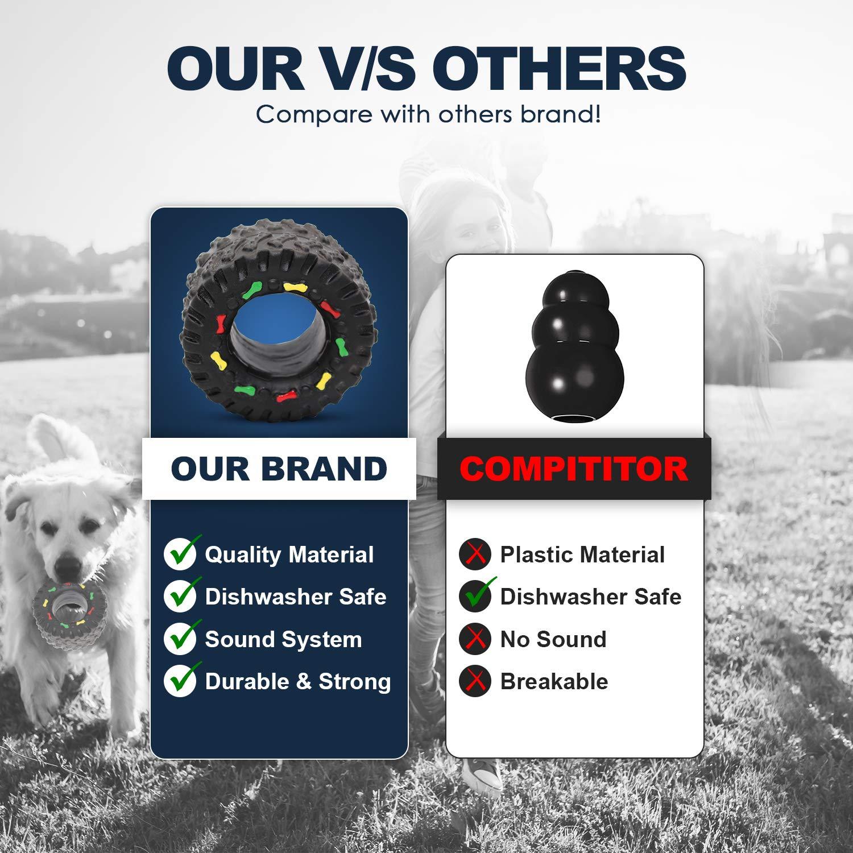 Giochi per cani in Gomma a Forma di Pneumatico | Giocattolo da Masticare per Cani Super Resistente con Suono | Interattivo Indistruttibile con Fischio