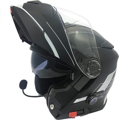 53-54 CM XS Viper RS-V171 Moto Casque de V/élo de Bluetooth Rabattable Int/égral Noir Mat Unisexe Int/égr/é Pare-Soleil Pin Lock Pr/êt