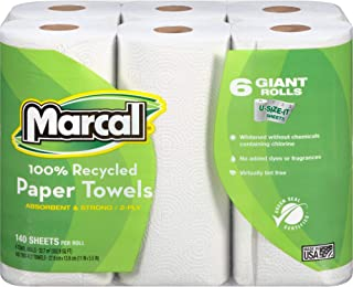 product image for Marcal Paper Towels U-Size-It Sheets 2 Ply 140 Sheets Per Roll 100% Recycled - 24 Rolls Per Case Green Seal Certified Paper Towel Rolls 06181,White