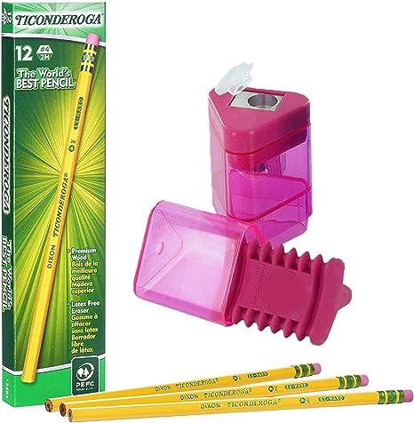 Including FREE BONUS Double Hole Pencils Sharpener Dixon Ticonderoga Wood-Cased Pencils Colors may vary Box of 12 Yellow #2 HB