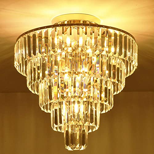 MonDaufie Crystal Chandelier 10 Lights Dimmable Gold Crystal Chandelier Semi Flush Mount Ceiling Light Fixture