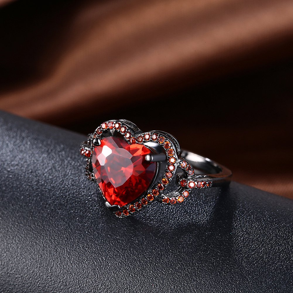 BEMI Romantic Black Gold Red Heart AAA Zircon Band Promise Ring Valentine Gift Statement Rings for Womens 8 by BEMI (Image #4)