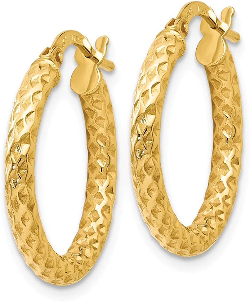 Leslies Real 14kt Yellow Gold Polished and Textured Hoop Earrings