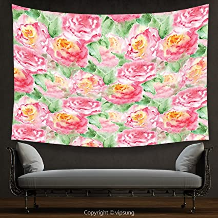 Amazon.com: House Decor Tapestry Watercolor Flower Decor Painting of ...