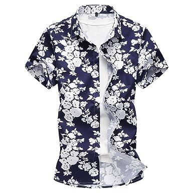 e901846c4c28 Cloudstyle Men s Floral Button Down Short Sleeve Shirt Summer Hawaiian Style  Shirts