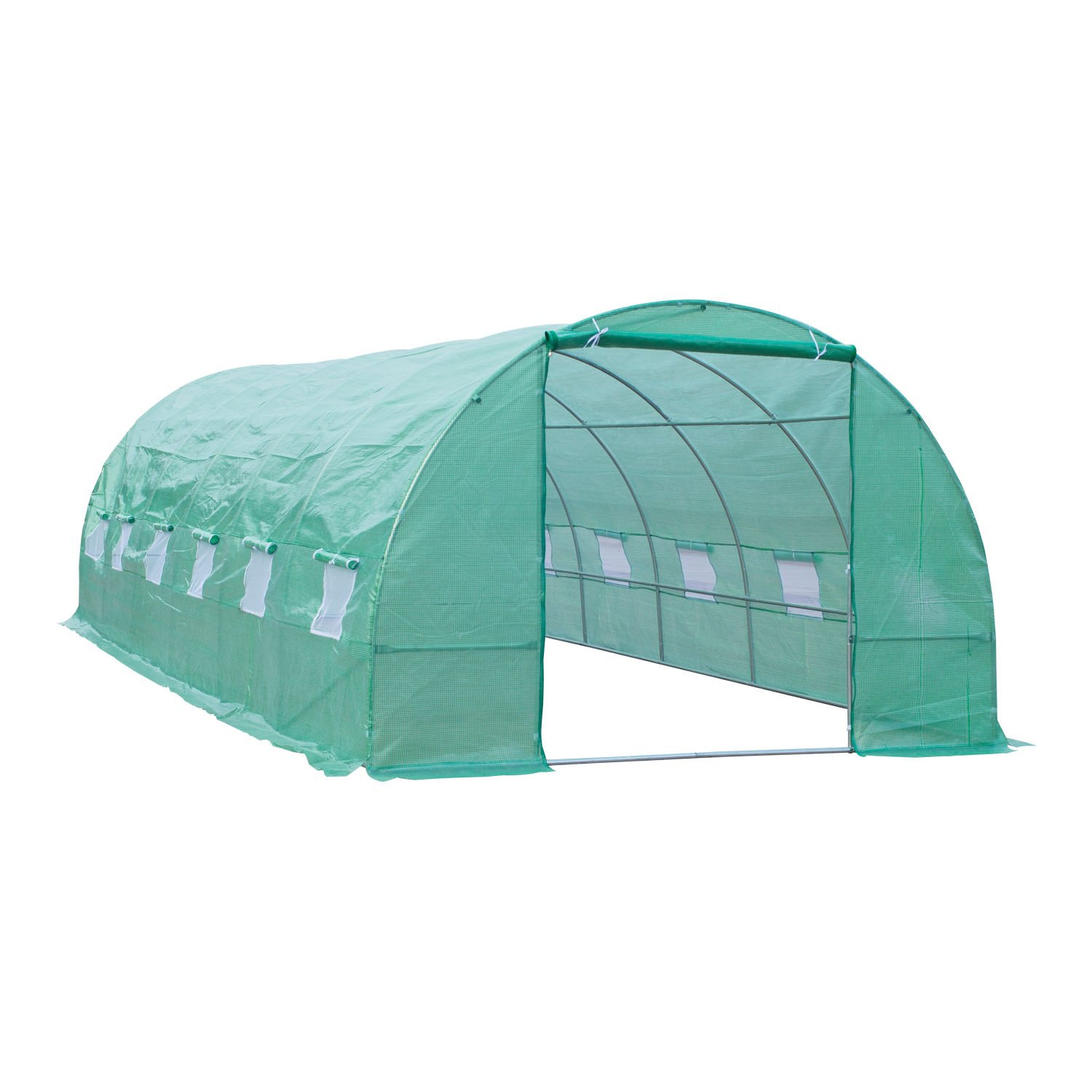 Outsunny 26' x 10' x 7' Portable Walk-in Garden Greenhouse - Deep Green by Outsunny