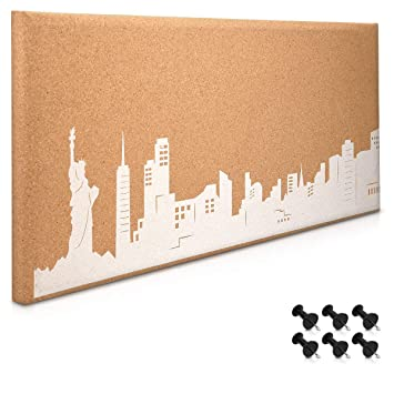 Navaris Cork Bulletin Board - 60 x 25 cm Push Pin Memo Corkboard in NYC Skyline Design with Push Pins for Kitchen, Classroom, Home Office, Bedroom