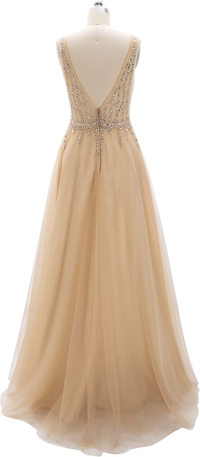 MACloth Women V Neck Beaded Tulle Long Prom Dresses Wedding Party Ball Gown Teal