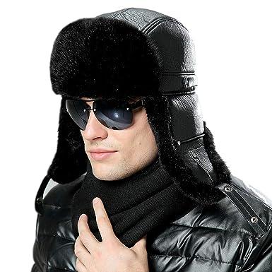 baf190f285a7e Men Women Bomber Hats Russian Ushanka Winter Plush Earflap Aviator Pilot Hat  Faux Leather Fur Snow