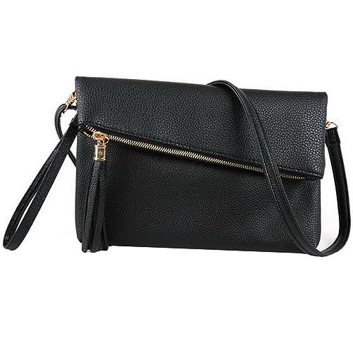 29c08ec109 Felice Foldover Clutch Purse Evening Envelope Wristlet Handbag Shoulder Bag  with Tassel (Black)