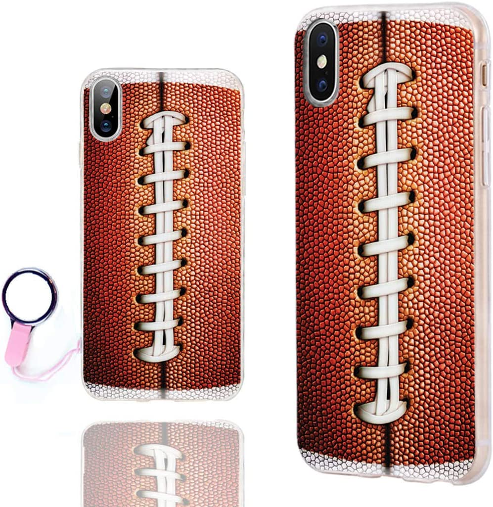 iPhone Xs Case Cute,iPhone X Case Cool,iPhone 10 Case,ChiChiC Slim Flexible Soft Rubber Silicone TPU Clear Case Cover with Design for Apple iPhone Xs X 10,Funny Sports Design Brown Football