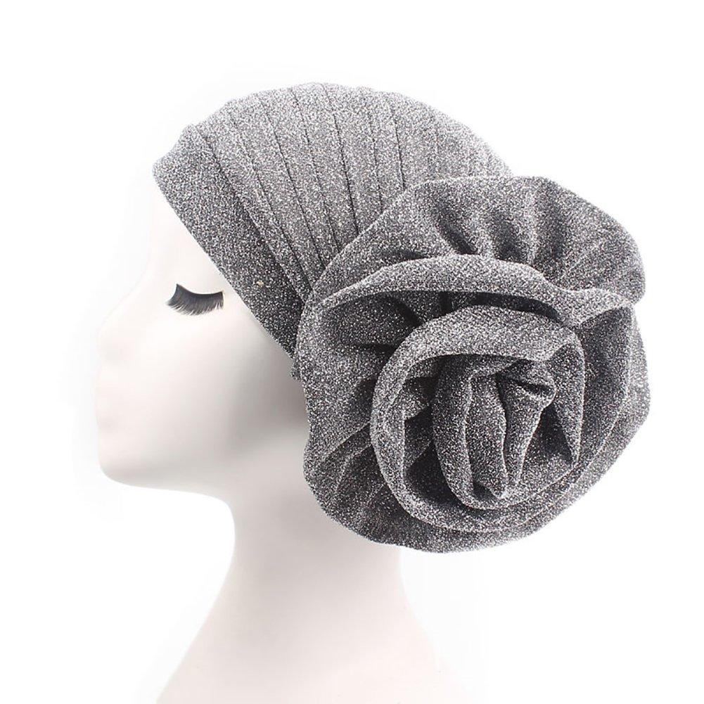 Amazon.com: TRENTON Solid Color Head Wrap -Stretch Long Short Hair Scarf Glitter Turban with Big Flower (Black): Clothing