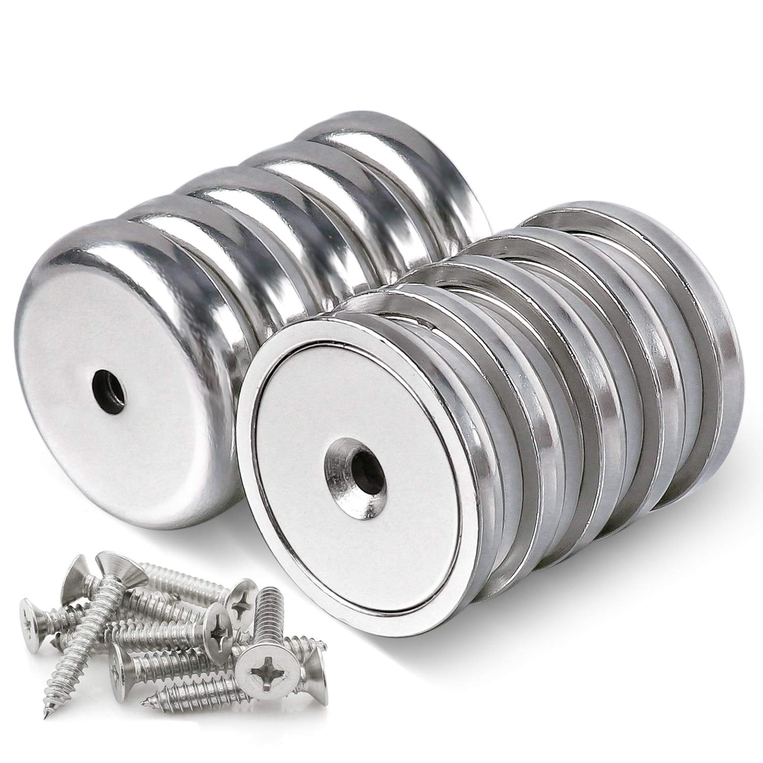 Super Power Neodymium Cup Magnets with 95 LBS Pull Capacity Each, 1.26 inch - Pack of 10