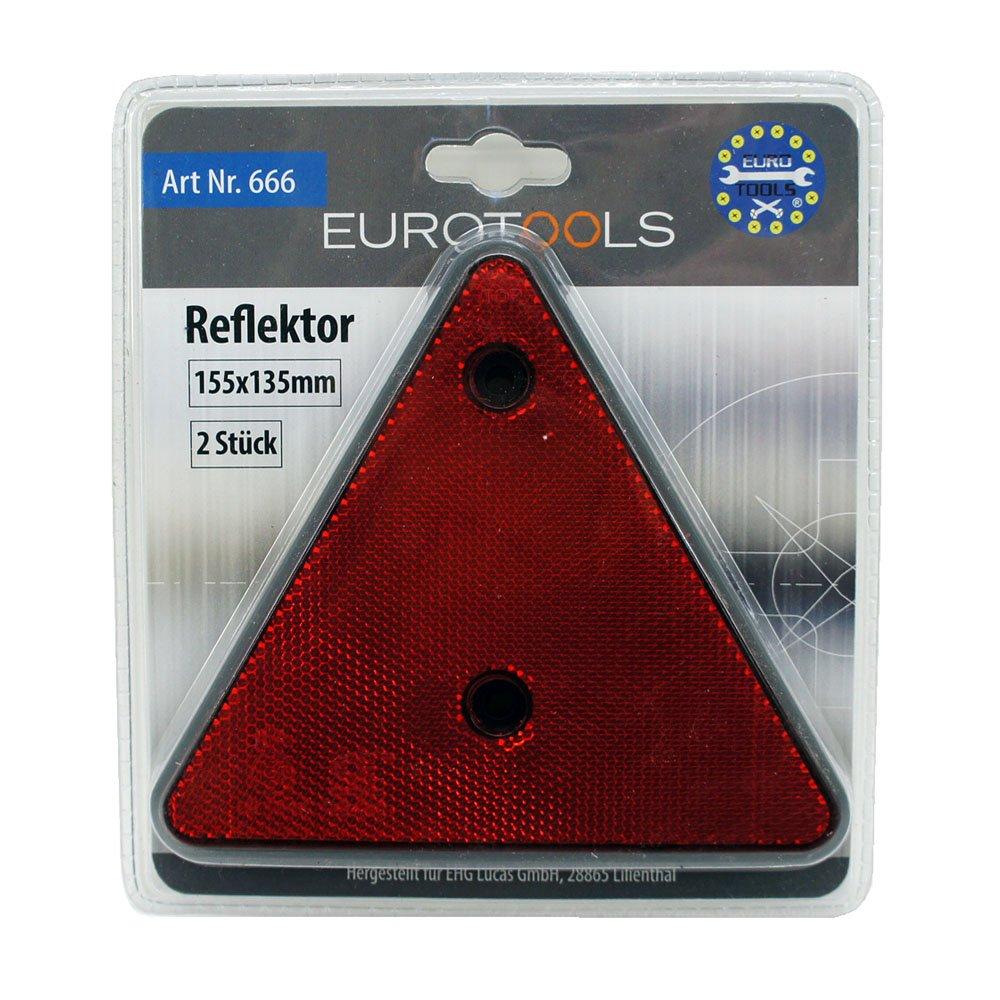 Eurotools Reflektor dreieckig dreieck 2 Stück Rückstrahler für Anhänger