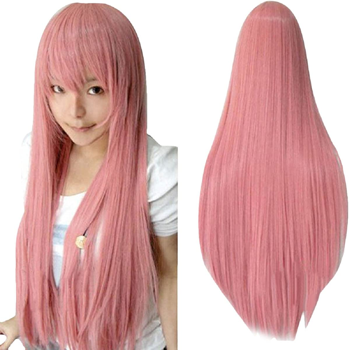 Shensee 80CM Long Straight Cosplay Wig Multicolor Heat Resistant Full Wigs pink
