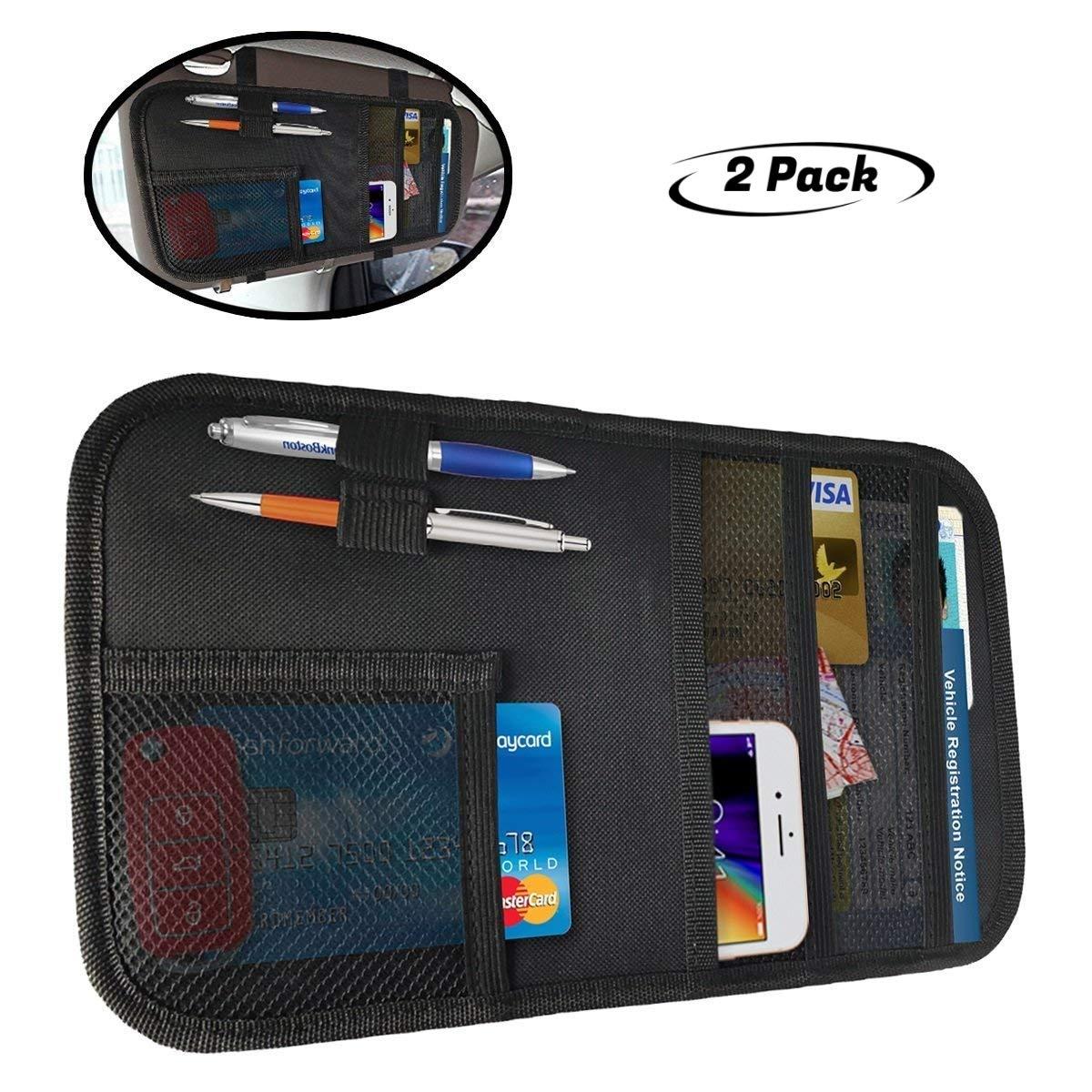 lebogner Car Sun Visor Organizer, 2 Pack Auto Interior Accessories Pocket Organizer, Registration and Document Holder, Personal Belonging Storage Pouch Organizer by lebogner