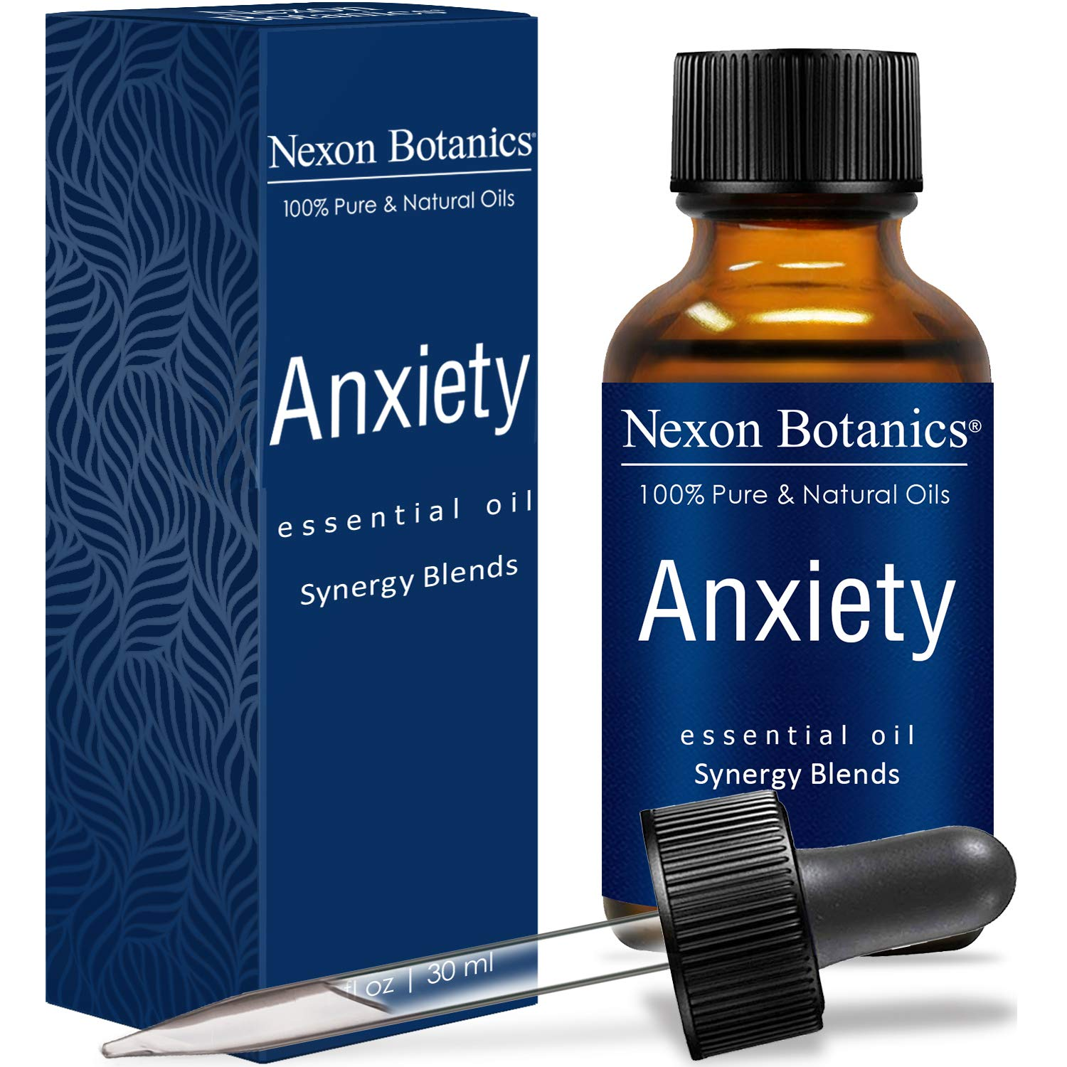 NEXON BOTANICS Anxiety Relief Essential Oil Synergy Blend 30ml - Helps Stress Away, Anti Depression - Promotes Relaxation, Calming - Can be Used for Aromatherapy or Diffuser