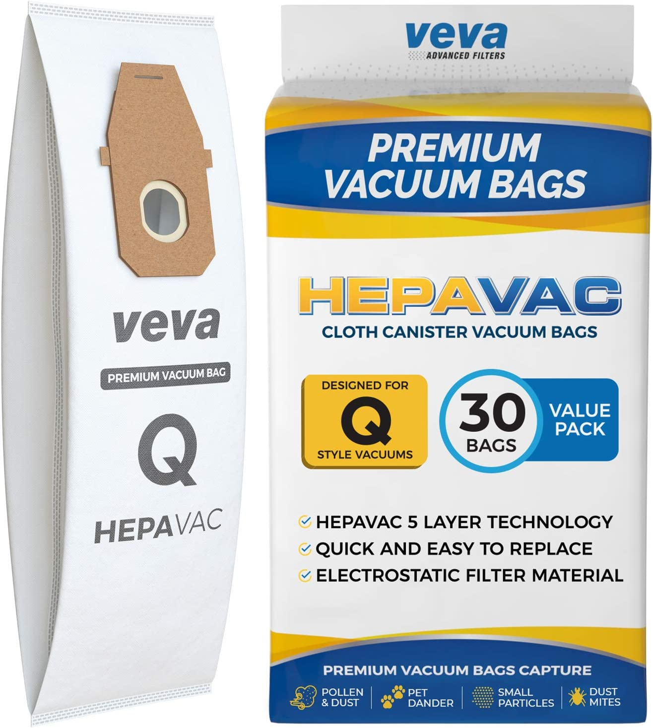 VEVA 30 Pack Premium HEPA Vacuum Bags Style Q Cloth Bag Work with Hoover UH30010COM Lightweight Upright Vacuum Cleaner, Model AH10000, AH10179
