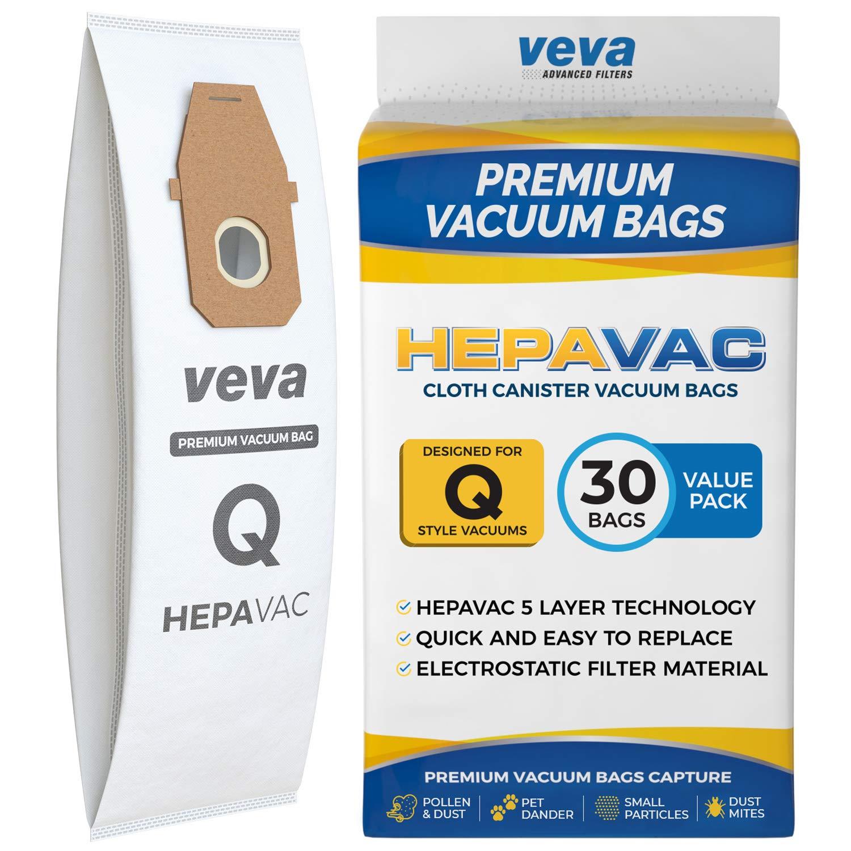 VEVA 30 Pack Premium HEPA Vacuum Bags Style Q Cloth Bag Work with Hoover UH30010COM Lightweight Upright Vacuum Cleaner, Model AH10000, AH10179 by VEVA