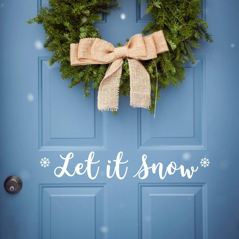 Amazon Com Blafitance Let Is Snow Front Door Decal Merry Christmas Door Decal Let It Snow Merry Christmas Decal Let It Snow Window Sticker Home Kitchen