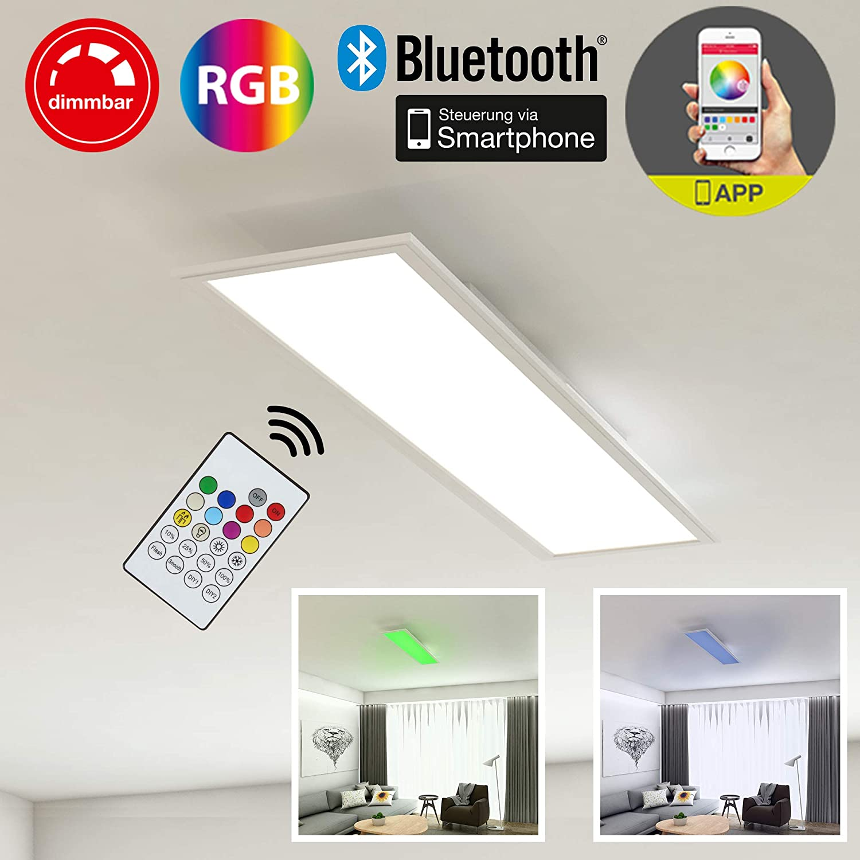 Briloner Leuchten LED Deckenleuchte-Panel, Einbauleuchte, 18W, dimmbar, Farbtemperatursteuerung, App-Steuerung, Blautooth, rechteckig, weiß, 59.5 cm