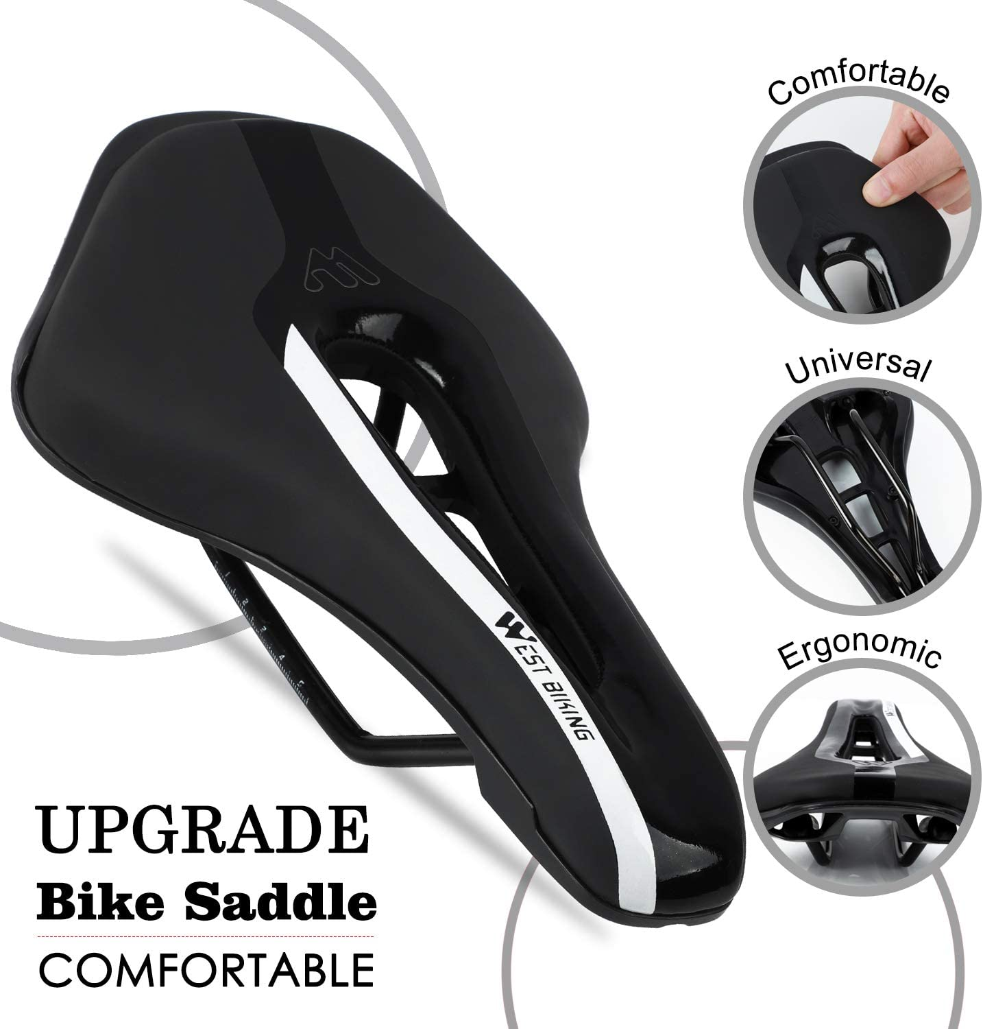 Non-Slip Extra Comfort Water-Resistant Soft Bicycle Cushion with Breathable Design for Men Women Road BMX Cycling Seat West Biking Ultralight Bike Saddle
