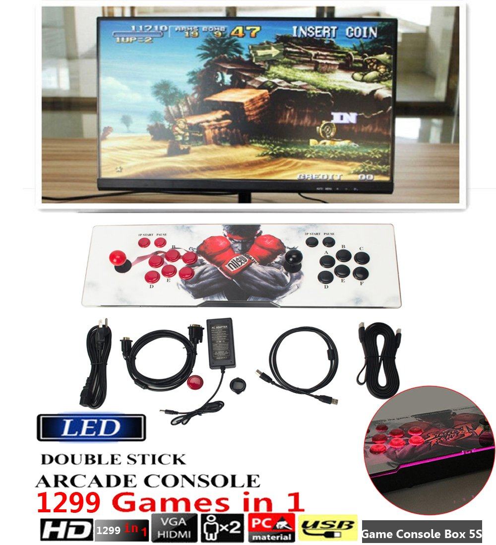 DODOING Double Joystick and Buttons Arcade Video Game Console 5S - 2 Players 1299 Classic Games Machine for Arcade Joystick Windows PC & TV VGA HDMI Output