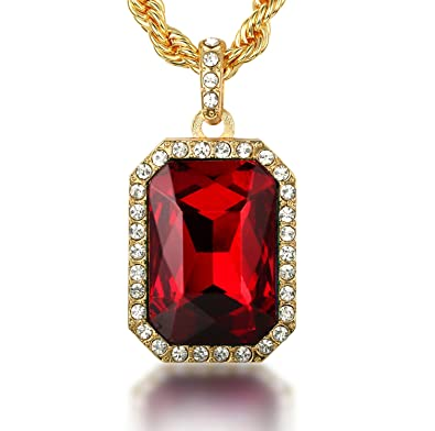 Halukakah empire mens thick 18k real gold plated red ruby pendant halukakah quotempirequot mens thick 18k real gold plated red ruby pendant necklace with aloadofball Gallery
