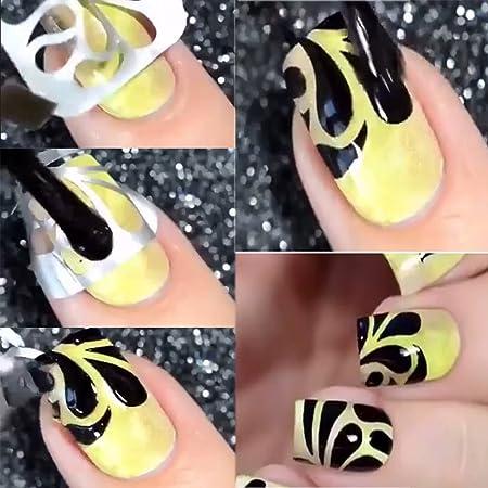Pegatinas de Plantillas de Uñas para Diseño de Arte de Uñas, 24 hojas 144 varios Manicura Decoración de Accesorios: Amazon.es: Belleza