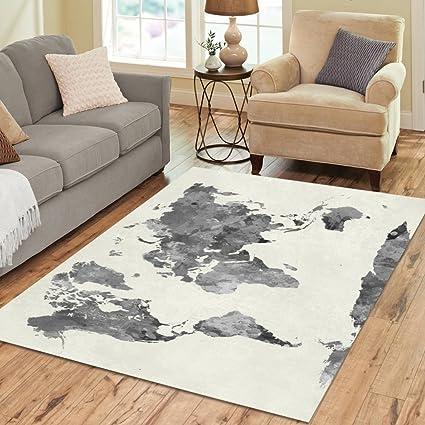Amazon interestprint grey world map area rug floor mat 7 x 5 interestprint grey world map area rug floor mat 7 x 5 feet watercolor gumiabroncs Choice Image