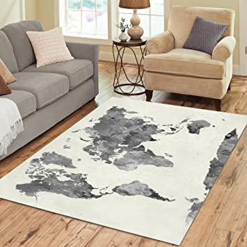Amazon interestprint grey world map area rug floor mat 7 x 5 interestprint grey world map area rug floor mat 7 x 5 feet watercolor gumiabroncs Image collections