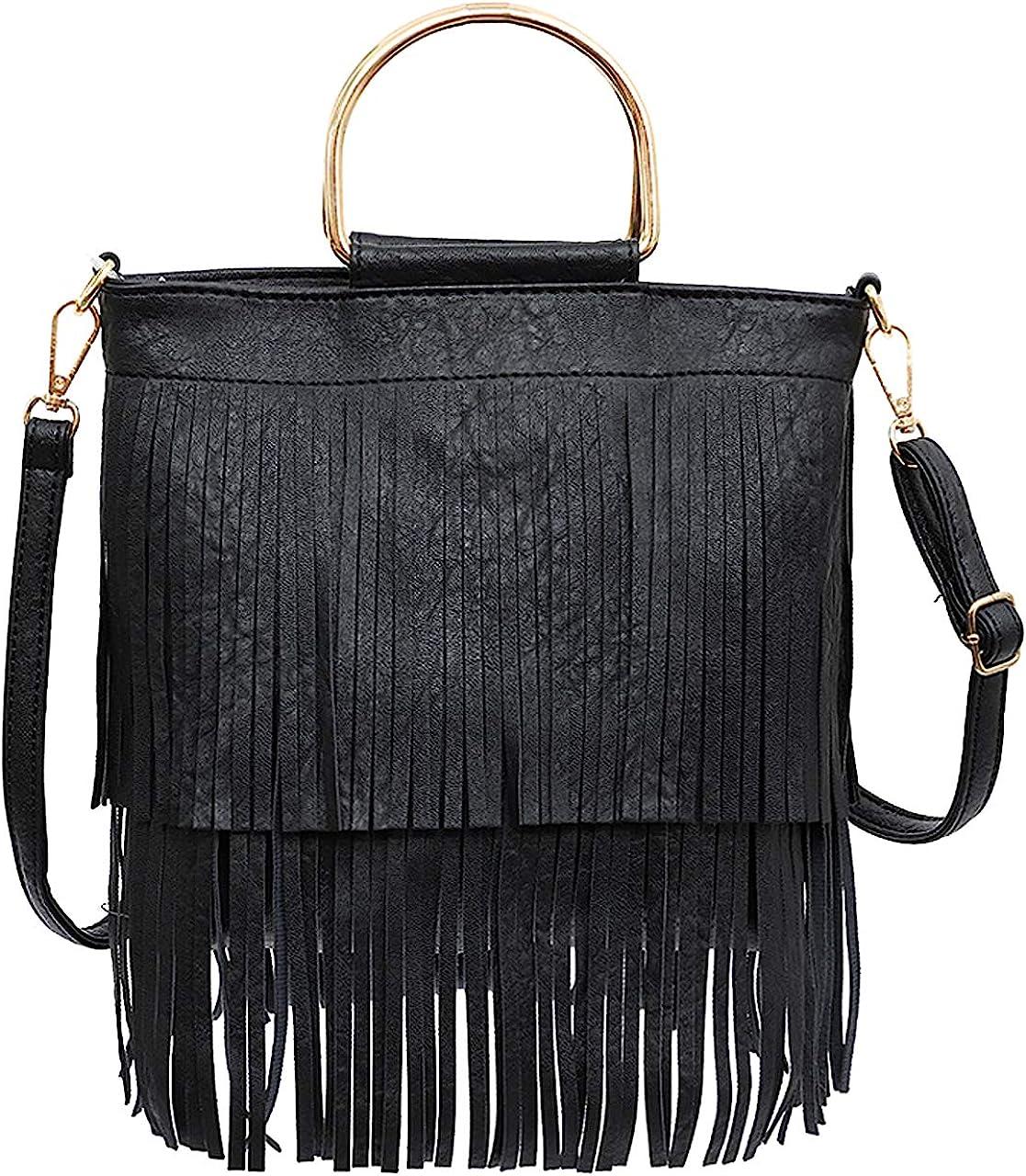 Front and Back Both Side Fringed Soft PU Leather Medium Long Cross Body Messenger Shoulder Bag