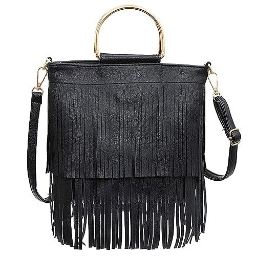 Ayliss Women Fringe Tassel Crossbody Bag Leather Shoulder Bag Hobo Handbag ( Black) 809f7d10cc