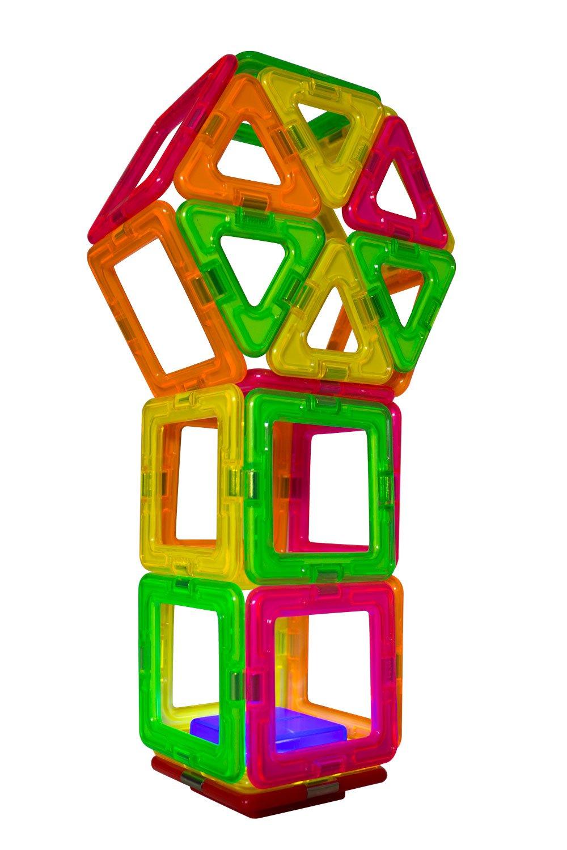 Magnetic    Building      Blocks Magnetic    Construction  STEM Set 33062 Educational  Magnetic    Tiles Kit 28-Pieces Magformers Neon Blacklight Set