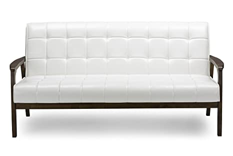 Awe Inspiring Baxton Studio Mid Century Masterpieces Sofa White Cjindustries Chair Design For Home Cjindustriesco