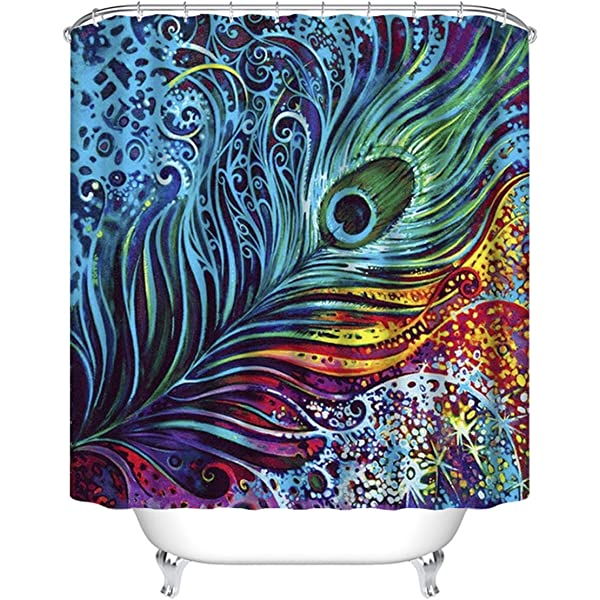 Fashionable Peacock Feathers Pattern Waterproof Polyester Fabric Shower Curtain