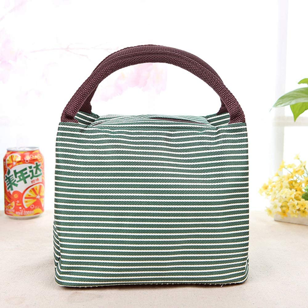 Borsa termica per il pranzo riutilizzabile borsa da picnic per uomini pieghevole bambini e donne Stripe Brown+green 2pcs da ufficio con chiusura a cerniera Invoda per il pranzo