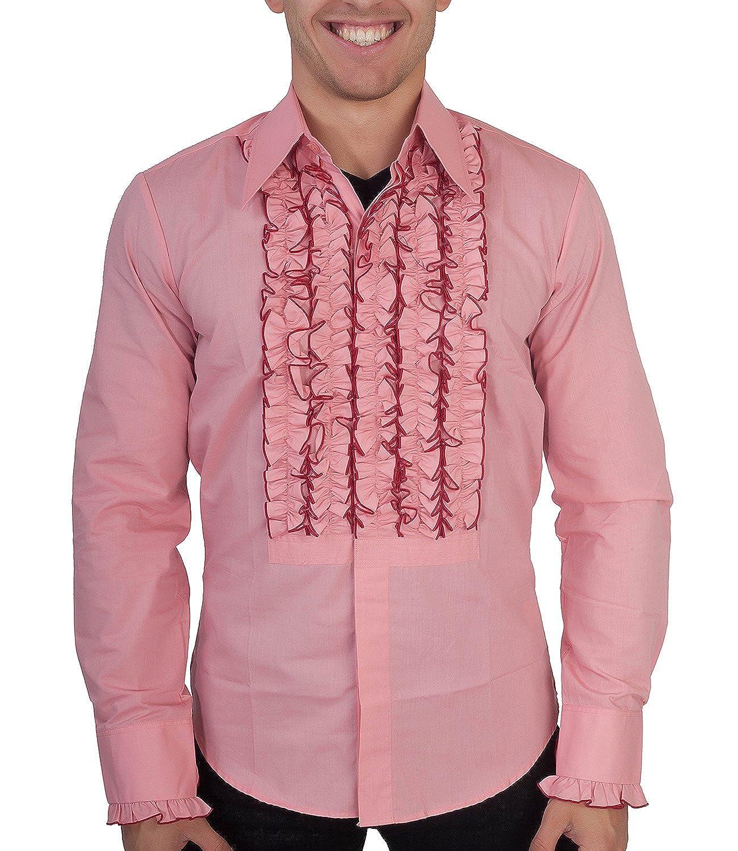 Chenaski Hemd mit Rüschen Rosa Hippie 70er Stil