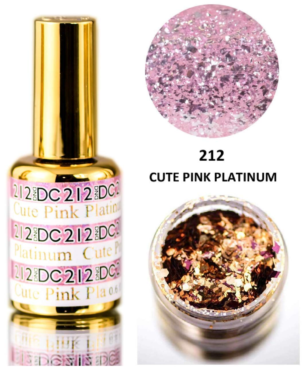 DND DC PLATINUM Gel Polish, Premium Gel Polish for Nails Containing Glitter, Daisy Nails (with bonus side Glitter) Made in USA (Cute Pink Platinum (212)) by DND DC