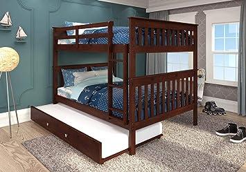 Amazon Com Donco Kids Mission Bunk Bed Dark Cappuccino Full Full W Twin Trundle Bed Furniture Decor