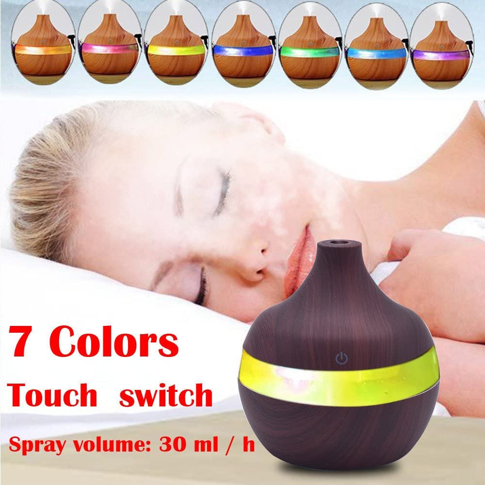 E-Scenery 2019 New Cool Mist Humidifier Wood Grain Ultrasonic Humidifiers for Office Home Car Study Yoga Spa Travel Premium Humidifying Unit with Whisper-Quiet Operation /& 7 Colors Night Lights