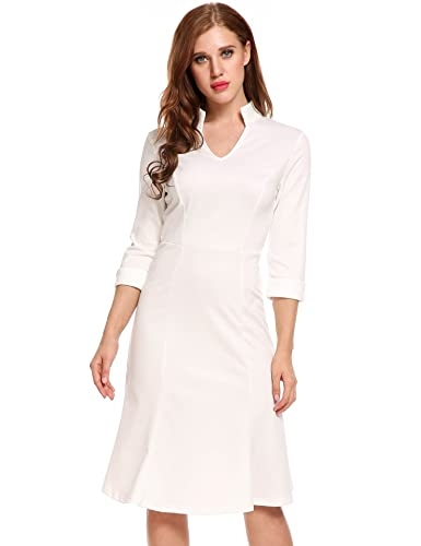 ACEVOG Women's Retro V-Neck 3/4 Sleeve Elastic Business Fishtail Mermaid Office Bodycon Midi Pencil ...