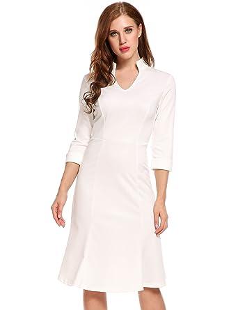 e523915bc3d1 ACEVOG Women's Vintage V-Neck 3/4 Sleeve Elastic Business Fishtail Wear to  Work