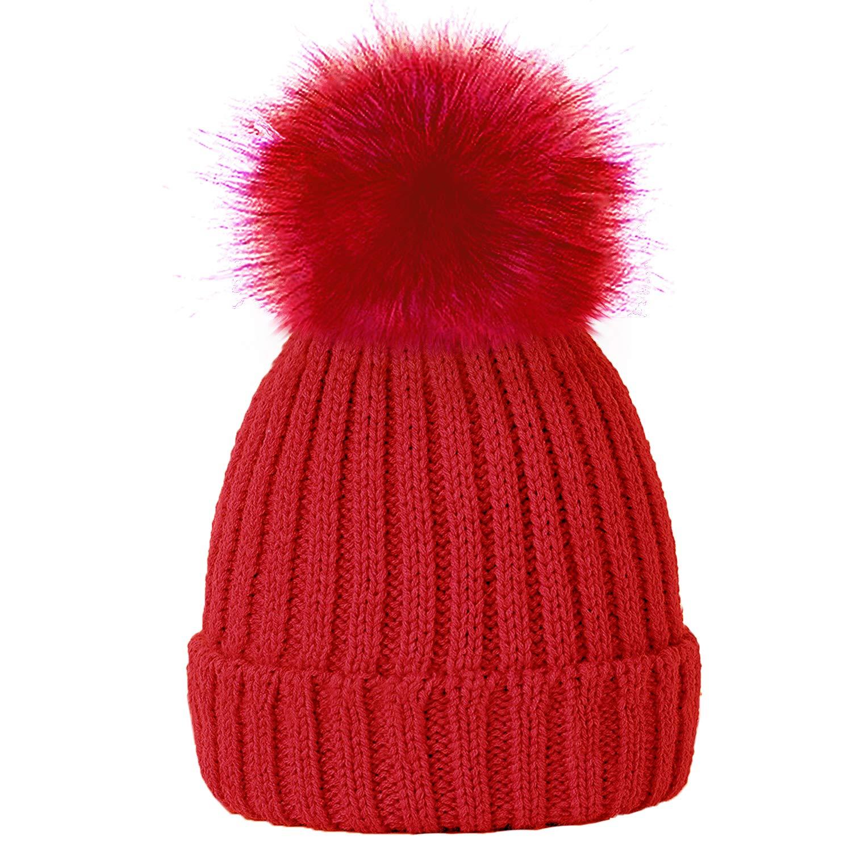 630d408913b995 Amazon.com: TOSKATOK® Girls Faux Fur Pom Pom Beanie Hat-Black: Clothing