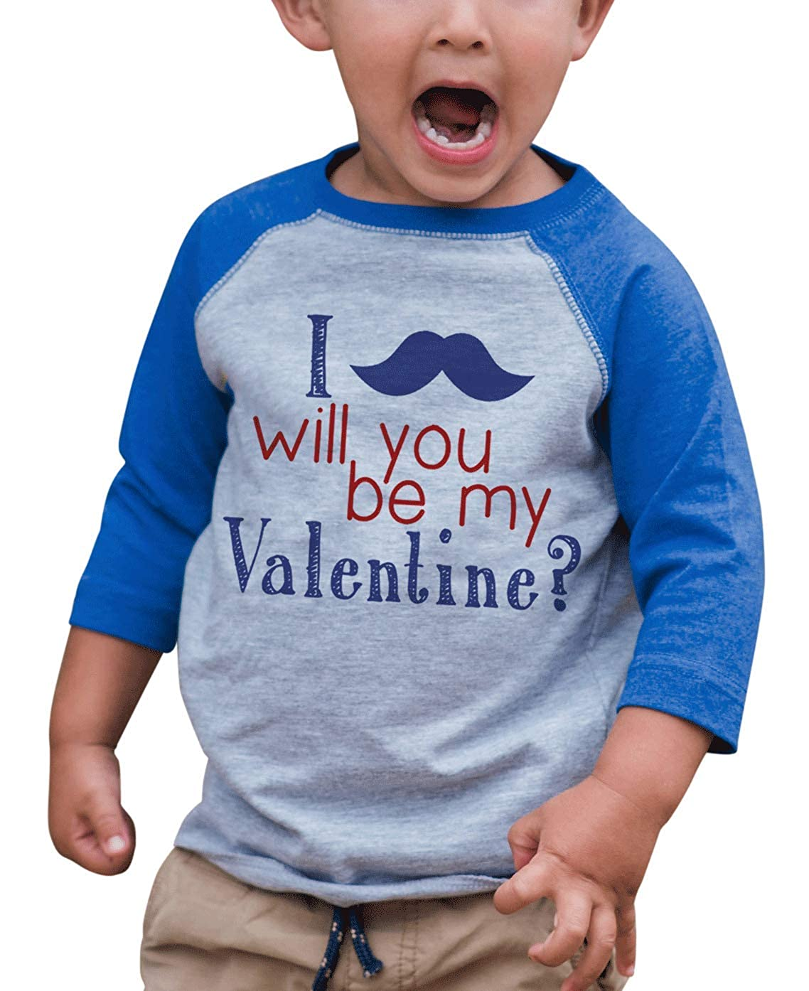 7 ate 9 Apparel Kids Mustache Happy Valentines Day Blue Raglan