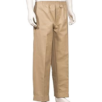 Amazon.com: Mens Full Elastic Waist Pants with Mock Fly (L, Khaki ...